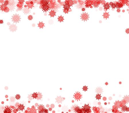 Vector red covid molecule confetti flakes frame on white background.