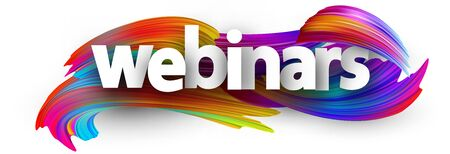 Small letters webinars paper sign over multi-colored brush strokes background.