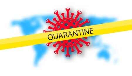 quarantine sign on yellow tape. Red covid-19 image on blurred world blue map background. Ilustración de vector