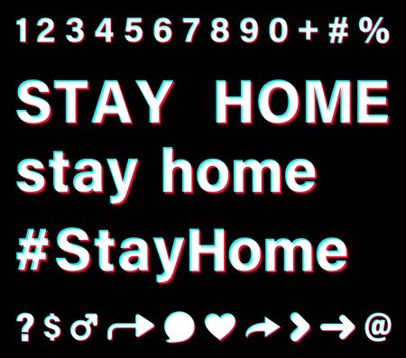 Stay home sign with small letters and capital letters and hashtag. White words with blue, red, pink borders on black background. Numbers and special signs. Vector icons for social media. Ilustración de vector