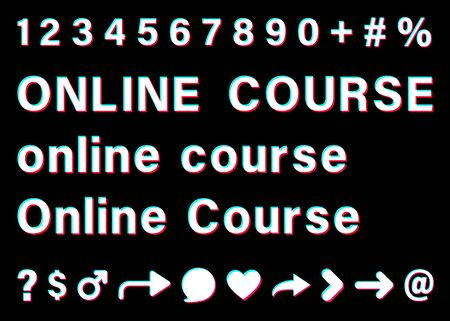 Online course sign with small letters and capital letters. White words with blue, red, pink borders on black background. Numbers and special signs. Vector icons for social media. Illustration