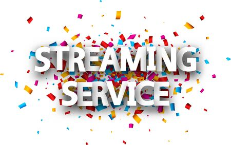 Vector big streaming service sign in two lines over multi-colored confetti background.
