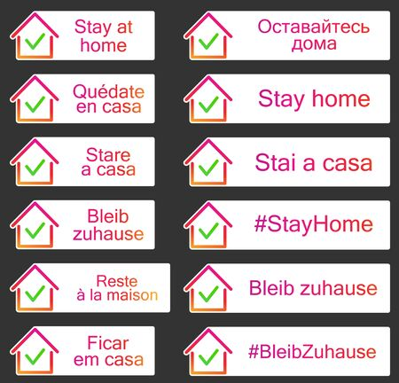 Set of stickers with stay home sign in different european languages. House frame with green check mark icon. Black background. Orange and purple gradient vector illustration. Illustration