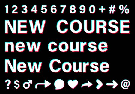 New course sign with small letters and capital letters. White words with blue, red, pink borders on black background. Numbers and special signs. Vector icons for social media.