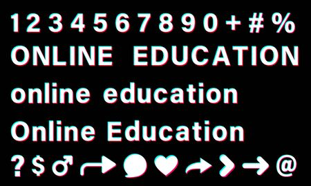Online education sign with small letters and capital letters. White words with blue, red, pink borders on black background. Numbers and special signs. Vector icons for social media. Stock Illustratie