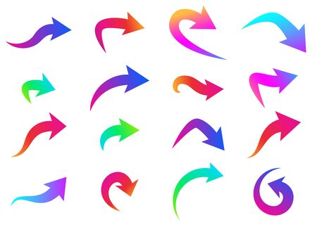 Set of thick curved and rounded isolated arrows on white background. Blue, pink, purple, orange, red, green gradient colors. Vector design element.