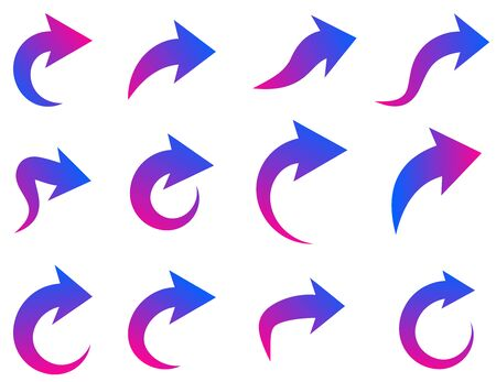 Set of curved and rounded isolated arrows on white background. Blue and purple gradient colors. Vector design element. Vettoriali
