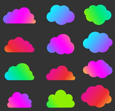 Set of isolated bright multicolored gradient clouds on black background. Silhouettes of different shapes. Vector illustration. Hình minh hoạ