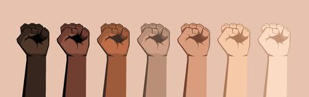 Set of seven raised fists of different shades. Skin of different colors, bright background. Vector illustration.