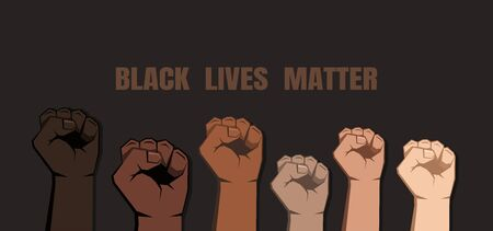 Six clenched fists of various shades raised in different height. Skin of different colors. Black lives matter sign on dark background. Vector illustration.