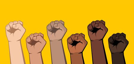 Six raised clenched fists of different shades. Skin of different colors, yellow background. Vector illustration.