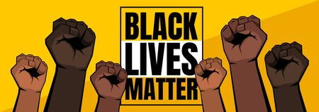 Six raised clenched fists of different shades. Skin of different colors, yellow and orange background. Black lives matter sign. Vector illustration.