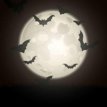 Bat silhouettes on night full moon background. Vector illustration.