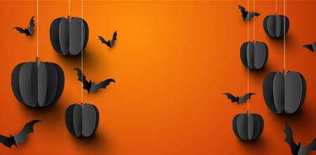Black 3d paper pumpkins hanging on threads and bats on orange background. Vector festive illustration. Illustration