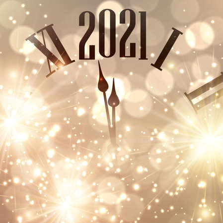 Clock hands showing one minute to 2021 year. Creative clock on gold sparkling background with lights and fireworks. Vector holiday illustration.