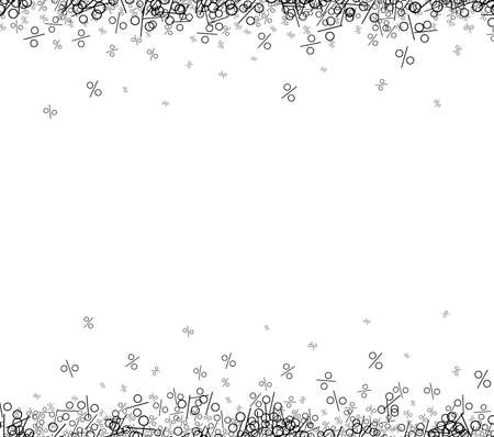 Black percents confetti frame on white background. Vector illustration.