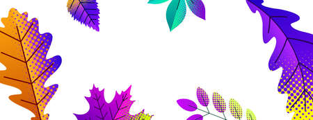 Parts of autumn leaves on white background. Lilac, violet, orange, blue, turquoise, yellow. Vector illustration.