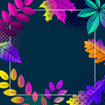 Autumn halftone dotted leaves on dark blue background. Pink, orange, yellow, lilac, violet, turquoise. Vector illustration.