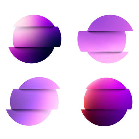 Set of violet fluid gradient circles on white background. Round neon holographic glitch sphere buttons. Trendy colors. Vector illustration. Ilustrace