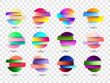 Set of multicolored fluid gradient circles on transparent background. Round neon holographic glitch sphere buttons with shadow. Trendy colors. Vector illustration.