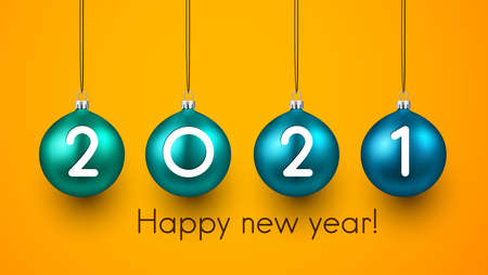 2 0 2 1 white numerals inside green and blue christmas tree toys hanging on threads. Happy new year sign. Orange background. Vector holiday illustration. 矢量图像