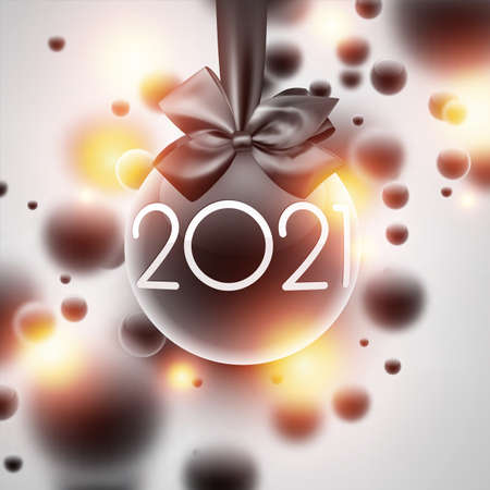 3d christmas tree toy with white 2021 sign. Toy hanging on ribbon with bow. Dark and gold bubbles. Vector holiday illustration.