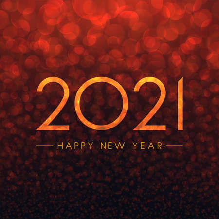 2021 happy new year transparent sign on gradient red bubble background. Vector holiday illustration. 矢量图像