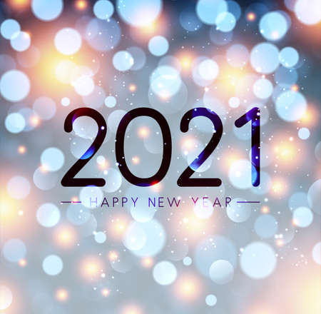 2021 happy new year sign on misted glass. Sparkling multicolored lights confetti. Vector holiday illustration.