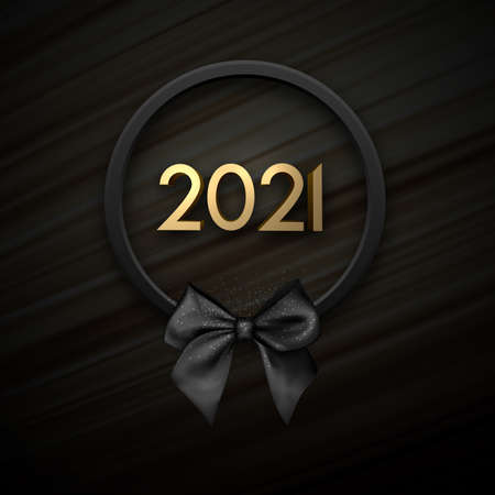 Golden 2021 sign in black wreath with bow on black flowing silk background. Vector holiday illustration.