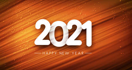 2021 sign on orange brushstroke background with shiny lights. Happy new year sign. Vector holiday illustration. 矢量图像