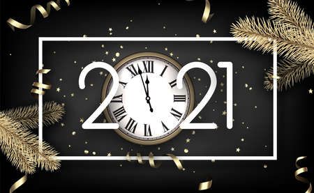White 2021 sign in white square frame on dark background. Creative clock instead of 0 in 2021. Golden stars and circles confetti, serpentine and spruce branches. Vector holiday illustration.