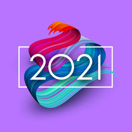 2021 sign over 3d paint gradient brush stroke. White square frame. Violet background. Vector holiday illustration.