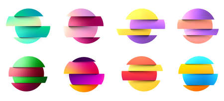 Set of multicolored fluid gradient circles on white background. Round neon holographic glitch sphere buttons. Trendy colors. Vector illustration.