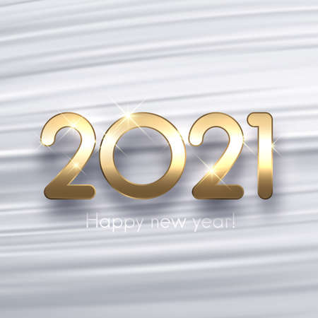 Golden metallic 2021 sign on light gray brush strokes background. Background looking like flowing silk. Vector holiday illustration. 矢量图像