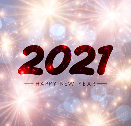 Red 2021 happy new year transparent sign on misted glass. Sparkling fireworks. Vector holiday illustration. Vector Illustration