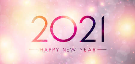 2021 happy new year sign on misted glass. Gradient orange and violet background with bright lights. Vector holiday illustration.