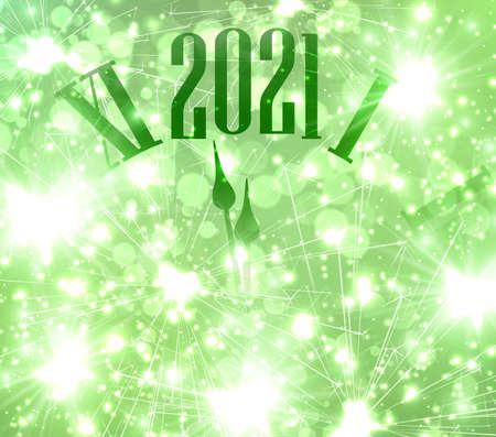 Top part of clocks showing 2021 year. Green background with shiny sparkles and fireworks. Vector holiday illustration. Illustration