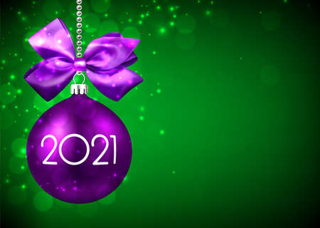 Violet 3d christmas tree toy with white 2021 sign hanging on silver bead ribbon with violet bow. Green gradient background with sparkling lights. Space for text. Vector holiday illustration.