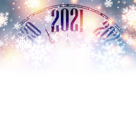 Clock hands showing 2021 year between 2020 and 2022. Creative clock with shiny lights and snowflakes on bright multicolored background. Vector holiday illustration.