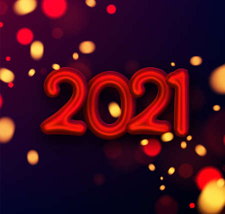 Red foil balloon 2021 sign with blurred red and yellow lights on dark background. Vector holiday illustration.