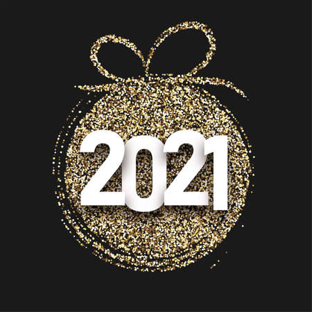 Golden shiny confetti christmas tree toy silhouette. White 2021 sign. Black background. Vector holiday illustration.
