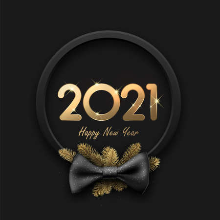 Shiny golden metallic 2021 sign inside black wreath with bow and gold spruce branches. Happy new year sign. Black background. Vector holiday illustration.