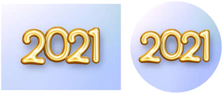 Set of round and square buttons with 2021 sign. Golden foil balloon 2021 sign on violet gradient background. Vector holiday illustration.
