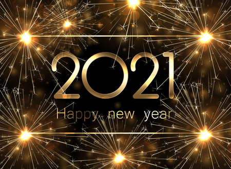 Golden metallic 2021 sign on dark background with golden sparkles and fireworks. Vector holiday illustration.