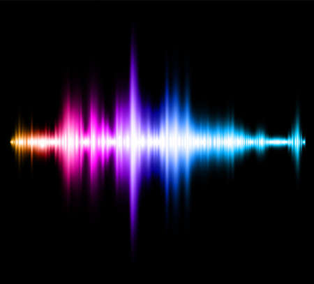 Abstract multicolored blurred neon sound wave on black background. Vector illustration. Vector Illustratie