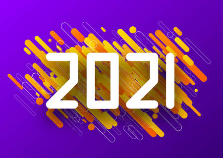 2021 zip font paper sign over yellow and orange striped confetti on violet background. Vector holiday illustration.