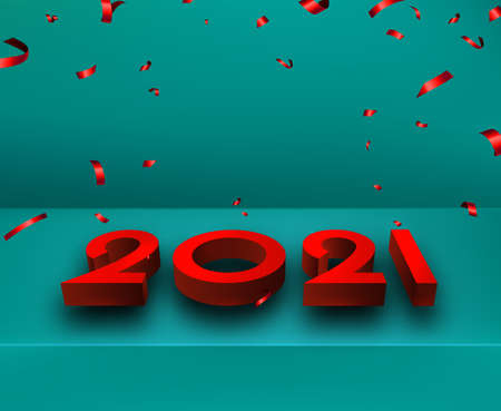 Red 3d 2021 sign lying on blue background surface. Falling red brilliant ribbon confetti. Some space for your text. Vector festive illustration.