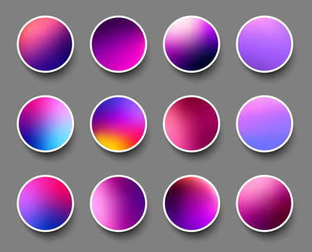 Set of rounded holographic gradient sphere buttons in purple and blue shades. Gray background. Vector web design illustration.