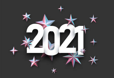 2021 white sign with metallic stars confetti in pink and blue shades. Black background. Vector holiday illustration. Ilustrace