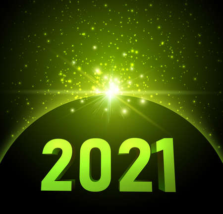 3d 2021 sign with green shiny lights like in cosmos. Black background. Vector holiday illustration.